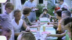 Family Reunion Meal Lunch Picnic 4th of July 1960s Vintage Film Home Movie 1877 Stock Footage