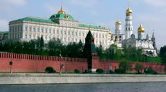 Tanks motorcade ride by quay of Moscow Kremlin - stock footage