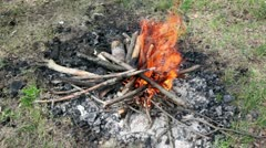 Bonfire of the branches burns on grass Stock Footage