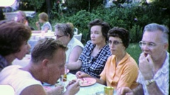 People Eating Farm Family Meal Lunch  Reunion 1960s Vintage Film Home Movie 1878 Stock Footage