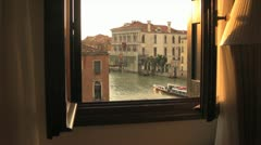 Romantic view of Venice at Dusk through Open Window Stock Footage