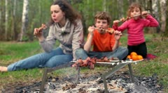Mom and kids sit on grass cover by plaid and eats kebab on skewers Stock Footage