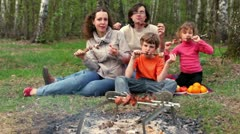 Father, mother and kids, sit on grass cover by plaid and eats kebab Stock Footage