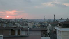 The rooftops of Istanbul at dusk with the famous Mosques punctuating the skyline Stock Footage