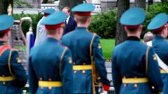 Prime minister of Russia Vladimir Putin walk on wreath laying ceremony - stock footage
