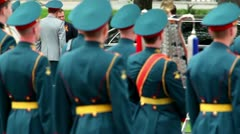 President of Russia Dmitriy Medvedev walk on wreath laying ceremony Stock Footage