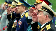 Veterans officiers stand and salute at wreath laying ceremony, Unknown Soldiers Stock Footage