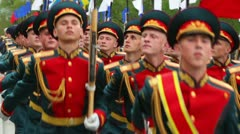 Navy, air and land forces ranks of soldiers march with rifles Stock Footage