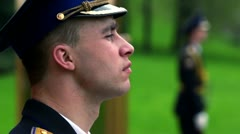 Soldier from guard of honor, his face shown in profile Stock Footage