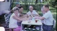 Family Reunion Meal Lunch Picnic Circa 1963 (Vintage Home Movie Footage) 1882 Stock Footage
