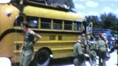 Boy Cub Scout Troop Bus Camping Field Trip 1960s Vintage Film Home Movie 1883 Stock Footage