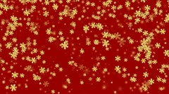 Gold snowflakes on red background HD 1080 - stock footage