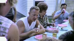 People Eating Farm Family Meal Lunch  Reunion 1960s Vintage Film Home Movie 1879 Stock Footage