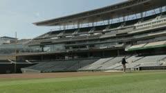 Maintenance on Infield of Baseball Stadium Stock Footage