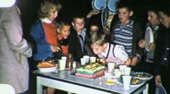Happy Birthday Party Happy Kids Fun Cut Cake 1960s Vintage Film Home Movie 1888 Stock Footage