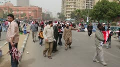Clip P02 - Cairenes entering Tahrir Square Stock Footage