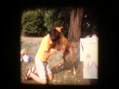 Cute pre-teen boy plays with really big dog Stock Footage