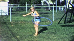 Happy Little Girl Blond Hula Hoop Exercise Fun 60s Vintage Film Home Movie 1896 Stock Footage