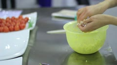 Chef cooking an appetizer of stuffed potatoes Stock Footage