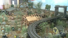 A model train going around the track (3 of 3) Stock Footage