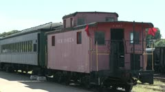 A parked train facing the caboose (1 of 2) Stock Footage