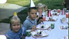 HAPPY BIRTHDAY! Children's Birthday Party 1960s Vintage Film Home Movie 1901 - stock footage