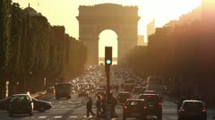 Arc de triomphe at sunset Stock Footage