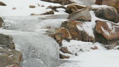 Ice and rocks frozen Stock Footage