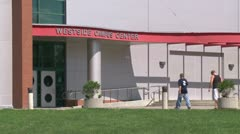 Entrance of campus building - stock footage