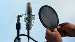 Condenser chrome microphone 8 Stock Footage