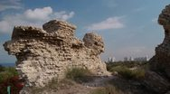 Stock Video Footage of Ashkelon antiquities Canaan wall P1