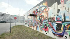 Graffiti mural at the Design District, Miami FL. Stock Footage