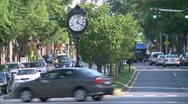 Stock Video Footage of Antique clock on median strip (1 of 2)