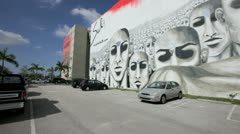 Downtown Miami Art wall Stock Footage