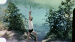 Boy Jumping into SWIMMING HOLE Pool 1960s Vintage Film Home Retro Movie 1914 - stock footage