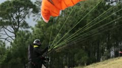 Paraglide taking off Stock Footage