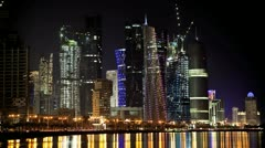 Doha Skyline at Night Stock Footage