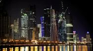 Stock Video Footage of Doha Skyline at Night