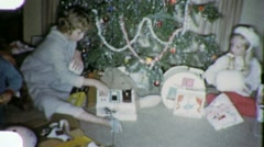 XMAS MORNING Open PRESENTS KIDS Christmas 1960s (Vintage Film Home Movie) 1924 - stock footage