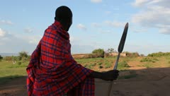 Maasai Warrior Protecting his Homestead. Stock Footage