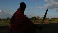 Maasai Warrior Protecting His Cows Stock Footage