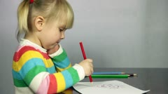 Child drawing Stock Footage