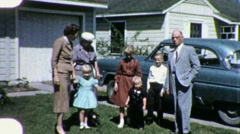 Family Portrait SUBURBIA House Car Reunion 1960s Vintage Film Home Movie 1911 Stock Footage