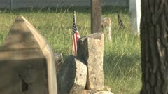 Row of graves at Antioch Colony Cemetery Stock Footage