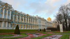 Catherine Palace - Pushkin, Tsarskoe Selo, St. Petersburg, timelapse Stock Footage