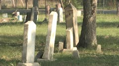 A Row of Monuments at Antioch Colony Cemetery Stock Footage