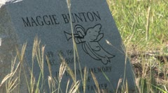 Maggie Bunton's Grave Stone at Antioch Colony Cemetery Stock Footage