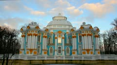 The ancient building in Pushkin Park, Tsarskoye Selo, St. Petersburg Stock Footage