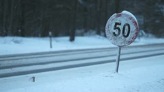 Speed limit at winter, 50 Stock Footage