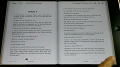 Flip English Book page on touch screen tablet computer ipad,Copy paste highligh Stock Footage